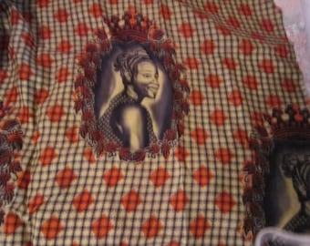 6 yards vtg fabric..african print..most unusual