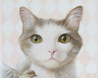 RESERVED Cat painting Cat portrait Cat face Cat oil painting Brown white cat Modern wall decor Green eyes Canvas Illustration art Pet