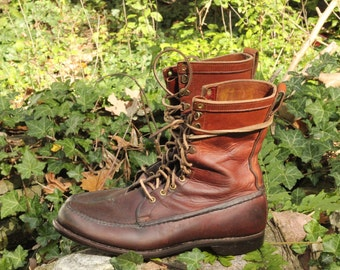 Reserved for Collin- his 1970s oil tanned bullhide hunting / tromping uplander boots by Gokey of Minnesota - USA Made estimated 10 to 11