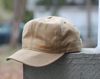 Rugged, beautiful Carhartt Hat - Union made in the USA - Duck waxed Canvas cap - high crown, adjustable size fits all