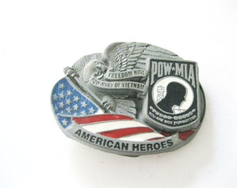 POW-MIA You Are Not Forgotten Belt Buckle. Vietnam. Military. Armed Forces. American Heroes -FL