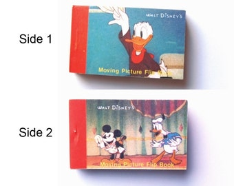Walt Disney Productions Flip Book - 1 Animation Booklet w/ 2 Sides 1980s Merrimack Pub. Corp. Mickey Mouse Donald Duck Collector Collectible