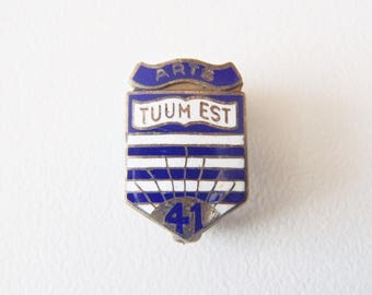 "University of British Columbia Lapel Pin Vintage Silver & Enamel Signed Birks Sterling UBC Coat-of-Arms Class of 1941 ""Arts / Tuum Est"""