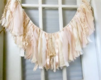 shabby pink fabric banner, fabric garland, infant photo prop, bridal shower decor, fringe window swag