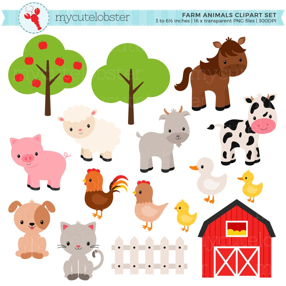 Farm Animals Clipart Set farm barn farmyard animalsClip Art Pictures Of Farm Animals