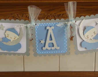 Love You to the Moon and Back Baby Boy Banner, It's A Boy Shower Banner, New Baby Banner, Blue Gray Baby Banner, Silver stars baby banner