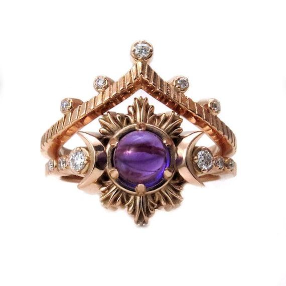 Gypsy Amethyst Moon Phase Engagement Ring Set - Rose Gold and Diamond Wedding Ring Set