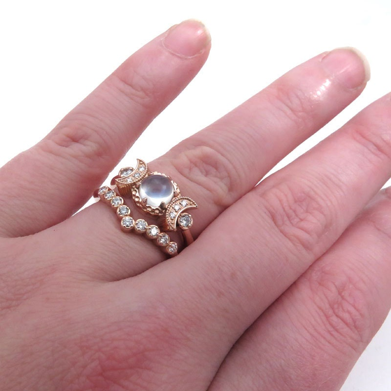 Cosmic Moon Mistress Engagement Ring Set Diamonds and Moonstone