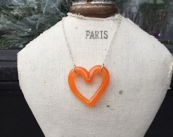 Juicy Orange Glass Heart Necklace