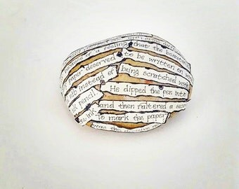 George Orwell 1984 paperweight, literary gift, desk ornament, collage on stone