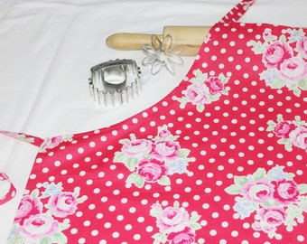 Peonies and Polka Dots Adult Apron