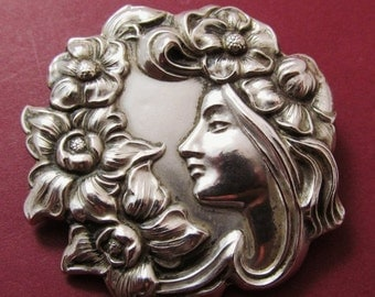 On Sale Art Nouveau Sterling Silver Brooch Antique Lady With Flowers Pin Jewelry
