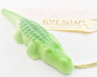 Alligator Soap on a RopFathers Day Gift - Green Peppermint and Eucalyptus Oil - Gifts for Kids - Florida Gators - Swamp - Everglades