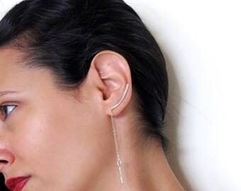 Sterling silver climber earrings, Boho long chain earrings for brides, Ear crawler, Ear bar earrings for her