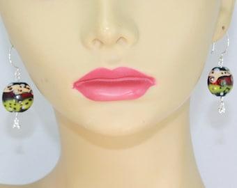 Lampwork glass earrins, glass bead earrings, artisan earrings, sterling silver earrings, hypoallergenic earrings