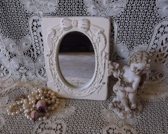 Shabby white ceramic mirror, repurposed mirror, small mirror