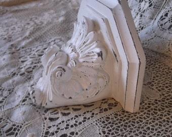 Vintage petite wall shelf, Shabby French Country, white, romantic home decor, Ornate shelf, statue display