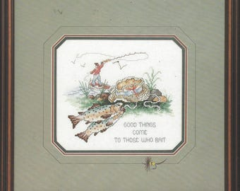 "1990s Fly Fishing Counted Cross Stitch Kit by Janlynn Kit 80-183 Good Things Finished Size 10"" x 8"" Perfect for Fisherman or Man Cave"