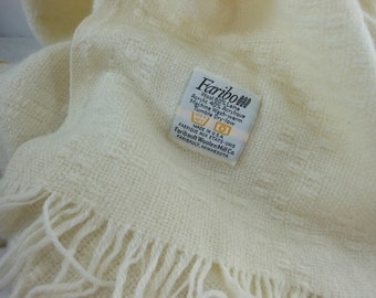 FARIBO Fringed Throw Off White Ivory Wool Blend Washable