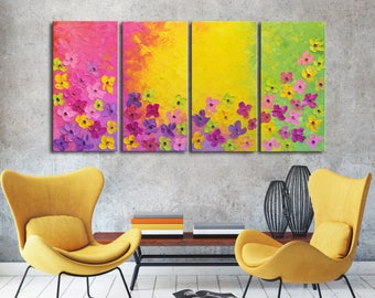 Original Modern Abstract Flowers, pink flowers, pink yellow painting, purple pink flowers, large Textured Large Impasto Painting, modern art