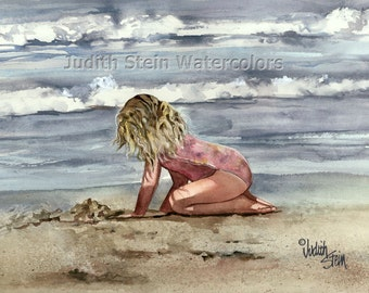 """Blond Beach Girl in Pink Swim Suit Digging in the Sand, Seashore, Watercolor Painting Print, Wall Art, Home Decor, """"Surf and Turf"""""""
