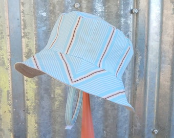 Blue Baby Boy Hat, Reversible Bucket Hat, Cotton with Linen Hat