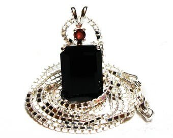 "Black onyx, black onyx pendant, accent pendant, statement pendant, black red, sterling silver,     ""Chocolate Silk"""