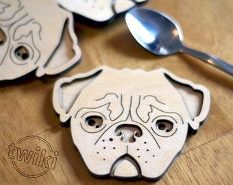 Wood pug coasters - Laser cut pug wood coasters, wooden pug coasters, pug housewarming gift, pug lover, pug decor, wood pug decor, pug dog