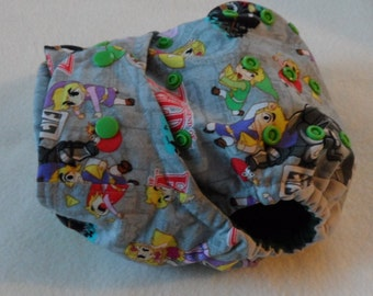 SassyCloth one size pocket diaper with legend of zelda gray cotton print. Made to order.