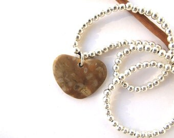 Beach Rock Jewelry Beach Stone Heart Necklace Mediterranean Natural Stone Beach Stone Sterling Valentine Pebble Sea Stone Necklace LEA
