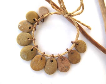 Natural Stone Beads Small Beach Stone Charms Mediterranean DIY Jewelry River Stone Beads Pebble Charms Small SAFFRON MIX 16-17 mm