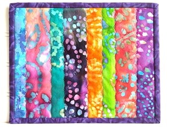 Quilted Mug Rug, Bright Batiks, Colorful Candle Mat