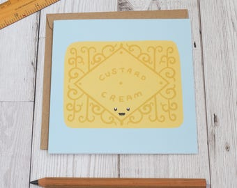 Custard Cream Biscuit - Classic Biscuits Greeting Card