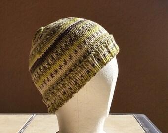 Stocking cap, watch cap, longshoremans hat, beanie, skull cap green, grey, cream. Hand knit stocking cap, beanie or skull cap