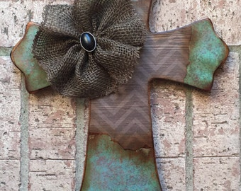 Turquoise Wood Cross, Vintage Style Wood Wall Cross, Mothers Day Wood Cross