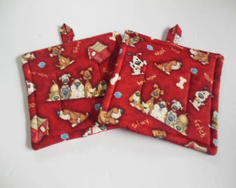 Pair of Fabric Potholders, Set of Two Quilted Potholders, Novelty Pr of Puppy Potholders