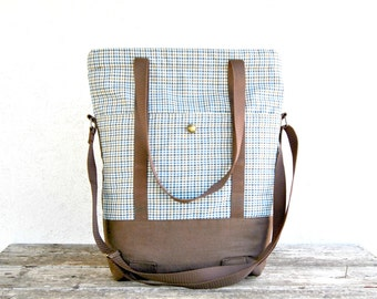 Travel tote bag, Shoulder and Crossbody  zippered purse bag in brown canvas and checkered fabric, overnight bag tote