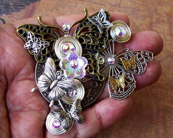 Butterfly Cluster Brooch (P708) Steampunk Design, Brass and Silver Plated, AB Swarovski Crystals, Wire Work, Duo Pin Backing