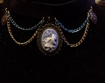 Butterfly and Flower Cameo Choker