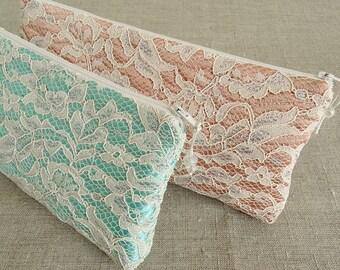 Bridesmaid Clutch Purse Peach Mint Floral Lace Handbag Wedding Bridal Shower Gift for Her
