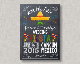 Fiesta Save the Date, Chalkboard Fiesta, Wedding Save the Date, Printable