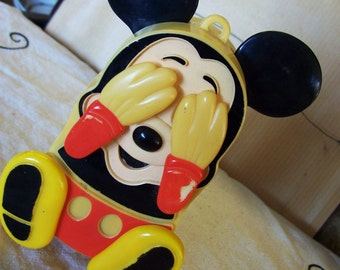 Mickey Mouse toy, ILLCO peek a boo toy, Walt Disney wind up toy, made in Hong Kong