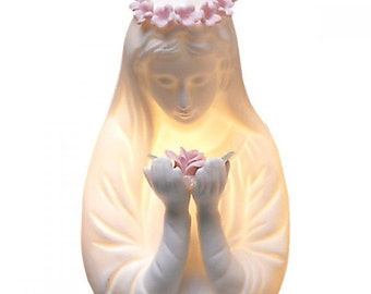 Madonna night light, Mother Mary figurine, Madonna bust