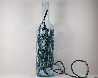 Wine Bottle Light Hand Painted with Flowers, Pretty Painted Flowers, Flowers on Wine Bottle, Painted Accent Light, Garden Art Lover Gift