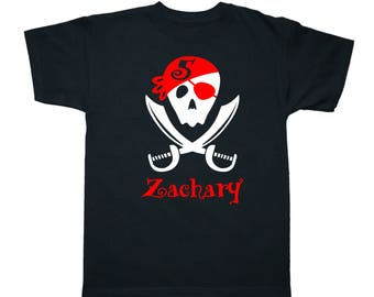 Pirate Birthday Shirt - Pirate Swords Shirt - Personalized Birthday Shirt - any age and name - pick your colors!