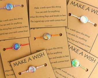 10 Mixed Selection Mermaid or Dragon Scale WISH STRINGS Bulk  Wholesale Stocking Stuffer Favor Offer