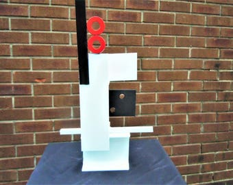 Modern Hand Welded Abstract Steel Sculpture Signed and Dated