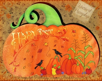 E PATTERN - Harvest Pumpkin - Harvest/Fall scene for all of Fall - Designed & Painted by Sharon B - FAAP