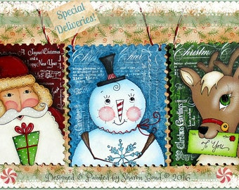 E PATTERN - Designs and Instructions for ALL 3 Ornaments - Santa, Snowman and Reindeer! So sweet!! Designed & Painted by Sharon Bond