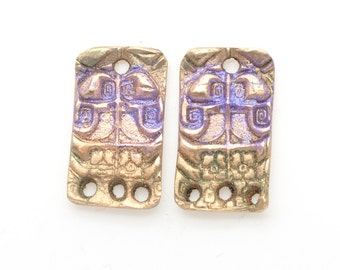 Bronze 3 hole Egyptian Motif Earring Components with Green and Purple Iridescent Colors